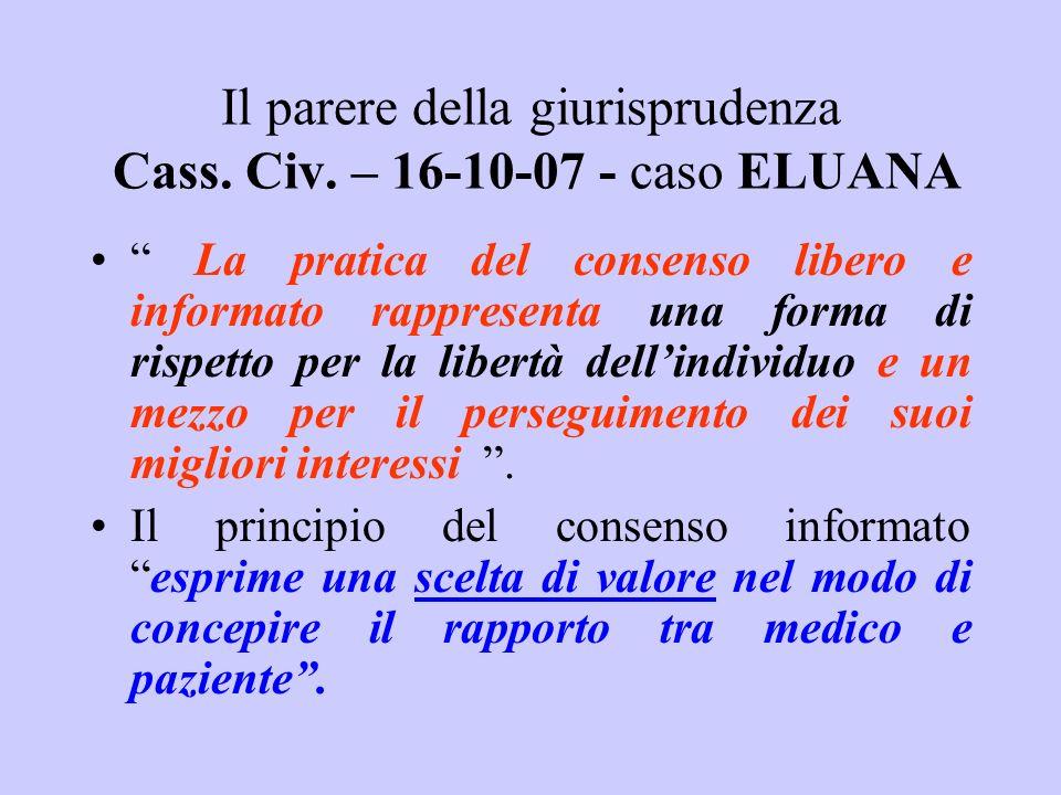 Il parere della giurisprudenza Cass. Civ. – 16-10-07 - caso ELUANA