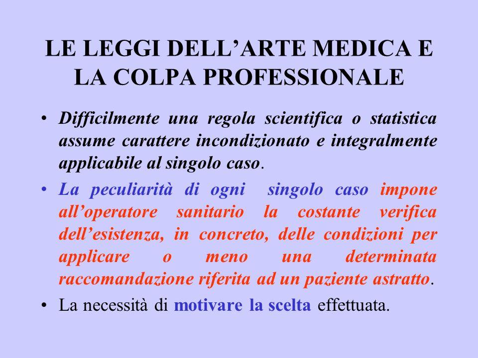 LE LEGGI DELL'ARTE MEDICA E LA COLPA PROFESSIONALE