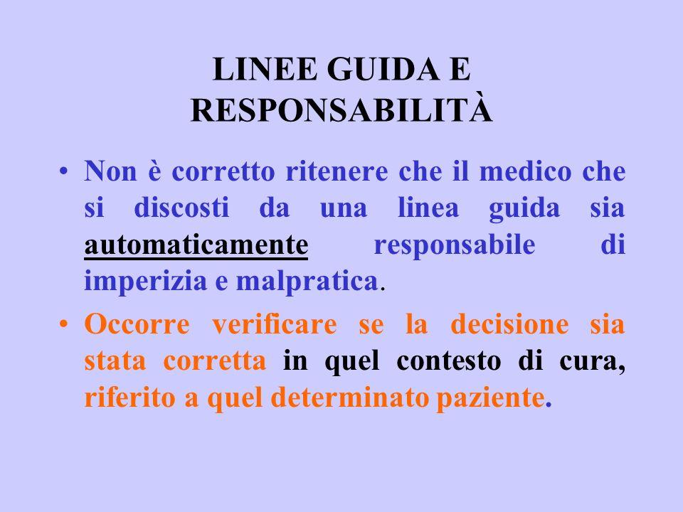 LINEE GUIDA E RESPONSABILITÀ
