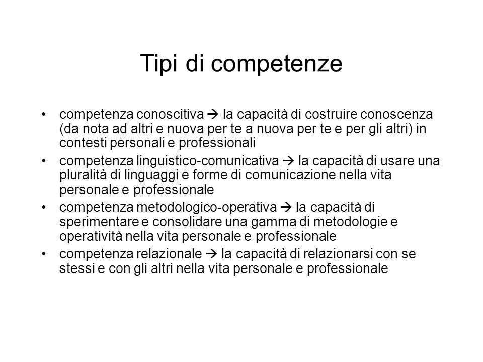 Tipi di competenze