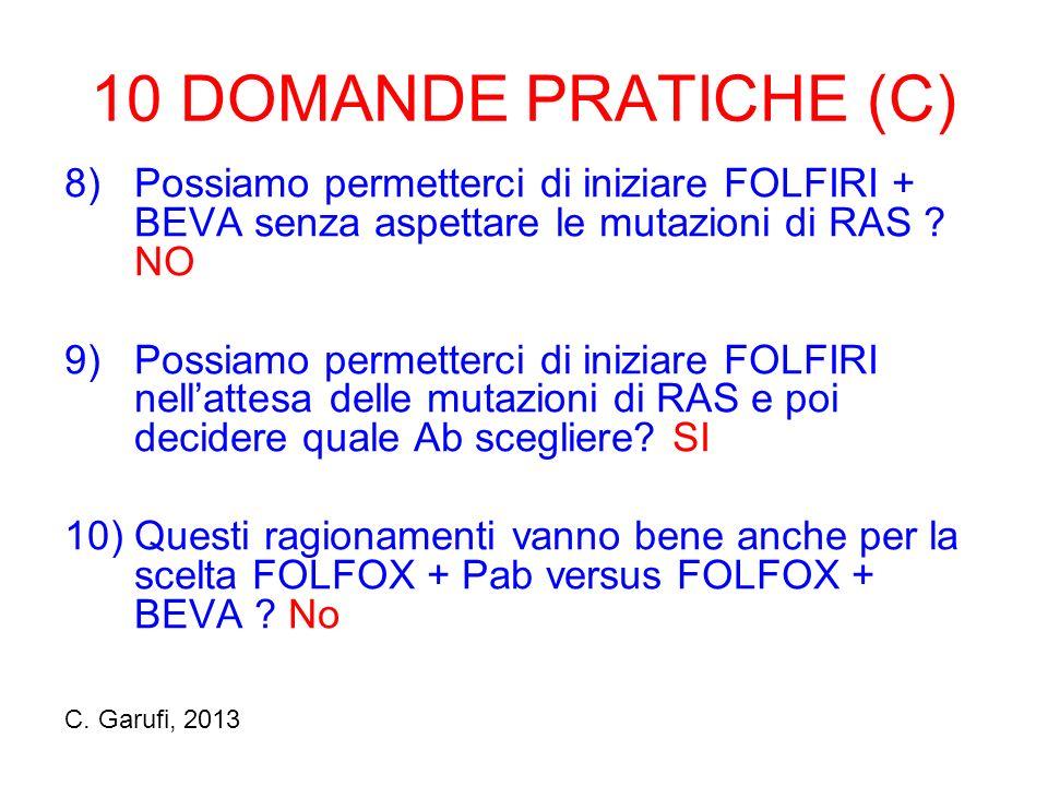 10 DOMANDE PRATICHE (C) 8) Possiamo permetterci di iniziare FOLFIRI + BEVA senza aspettare le mutazioni di RAS NO.