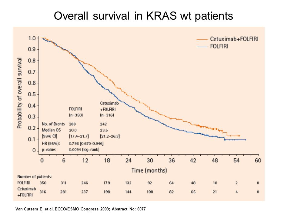Overall survival in KRAS wt patients