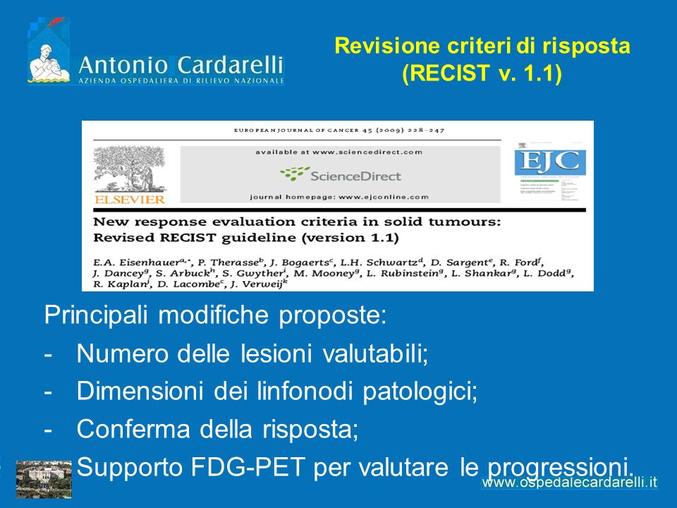 Revisione criteri di risposta (RECIST v. 1.1)