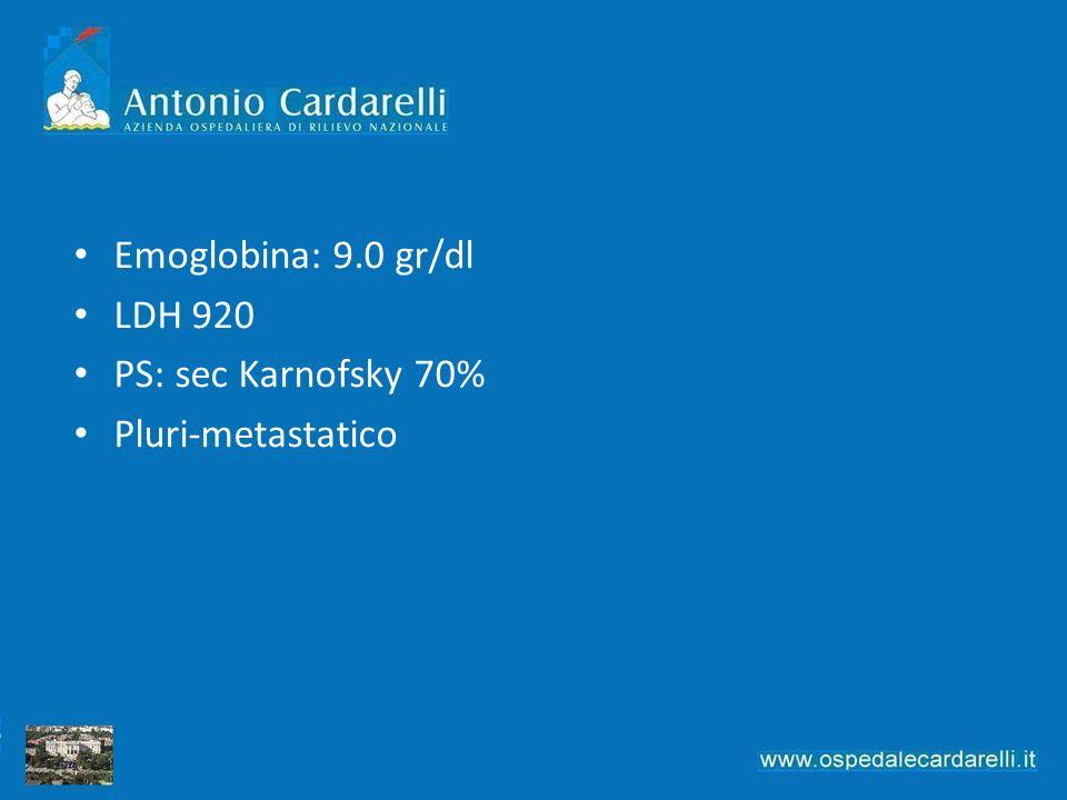 Emoglobina: 9.0 gr/dl LDH 920 PS: sec Karnofsky 70% Pluri-metastatico