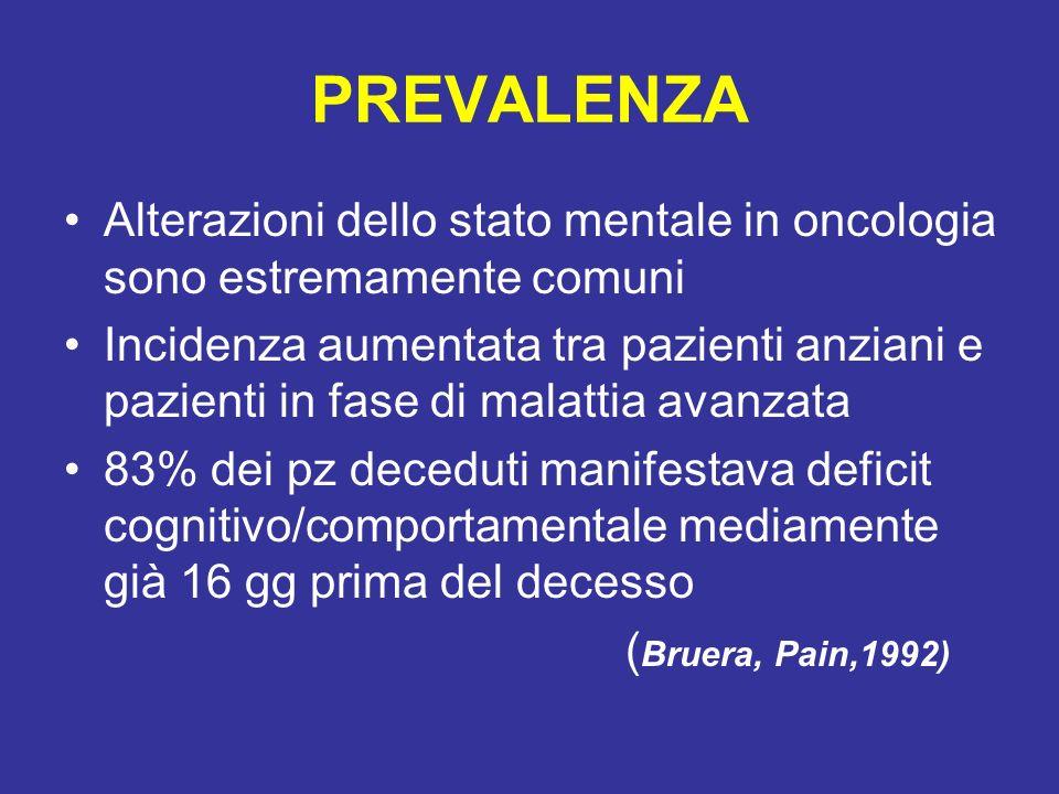 PREVALENZA Alterazioni dello stato mentale in oncologia sono estremamente comuni.