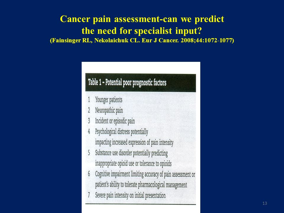 Cancer pain assessment-can we predict the need for specialist input