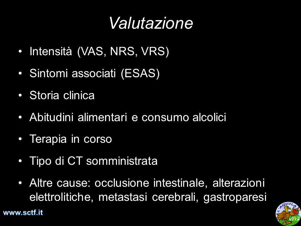 Valutazione Intensità (VAS, NRS, VRS) Sintomi associati (ESAS)