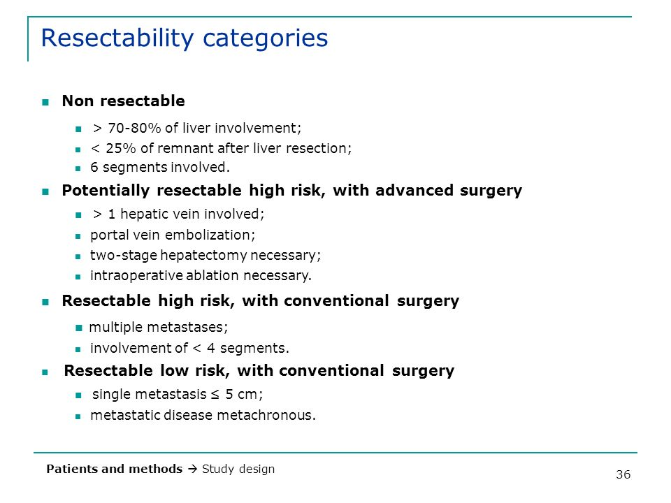Resectability categories
