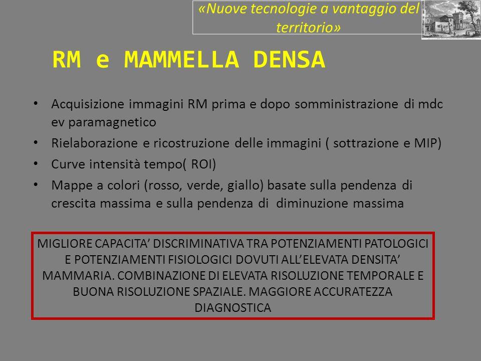 RM e MAMMELLA DENSA Acquisizione immagini RM prima e dopo somministrazione di mdc ev paramagnetico.