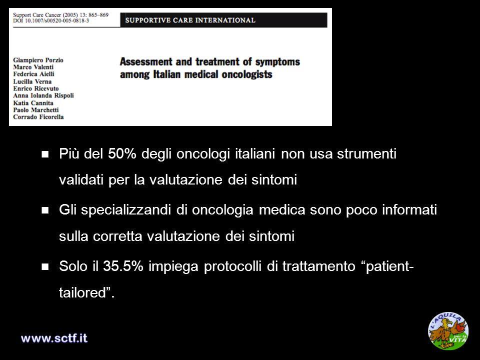 Solo il 35.5% impiega protocolli di trattamento patient-tailored .
