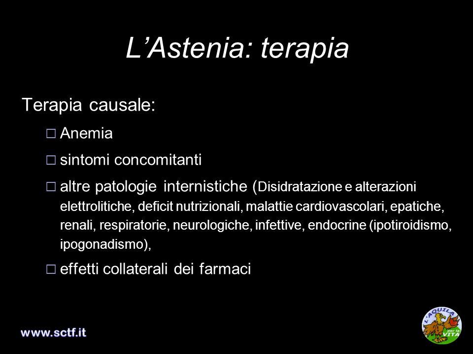 L'Astenia: terapia Terapia causale: Anemia sintomi concomitanti