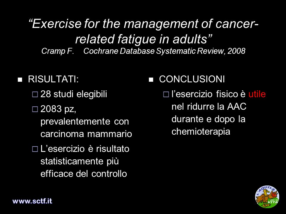 Exercise for the management of cancer-related fatigue in adults Cramp F. Cochrane Database Systematic Review, 2008