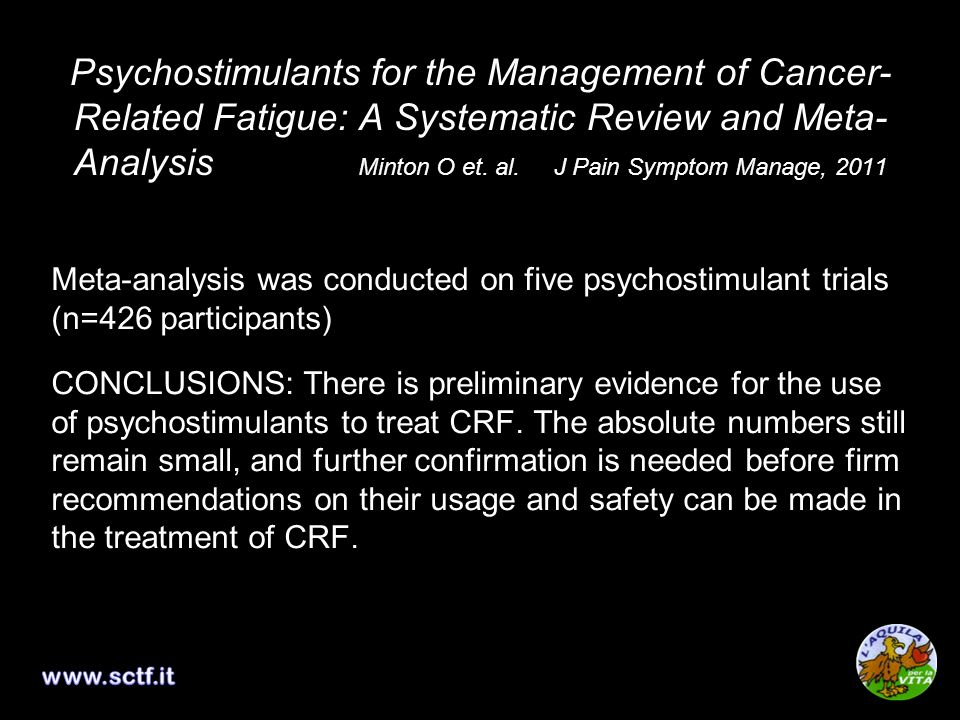 Psychostimulants for the Management of Cancer-Related Fatigue: A Systematic Review and Meta-Analysis Minton O et. al. J Pain Symptom Manage, 2011