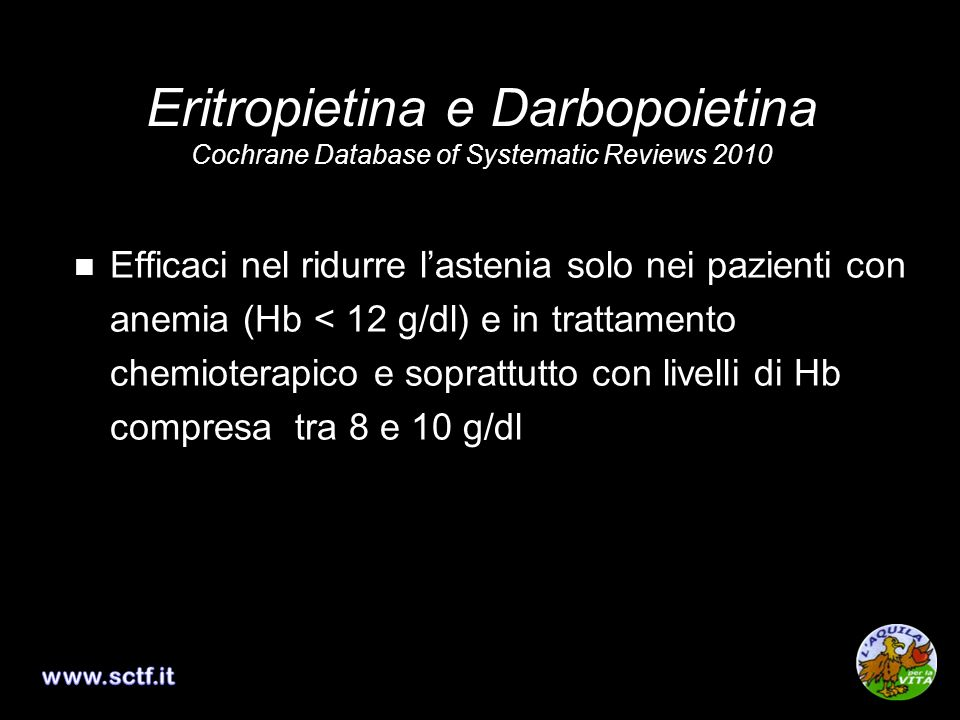 Eritropietina e Darbopoietina Cochrane Database of Systematic Reviews 2010