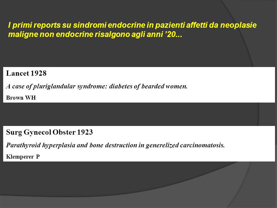 I primi reports su sindromi endocrine in pazienti affetti da neoplasie maligne non endocrine risalgono agli anni '20...