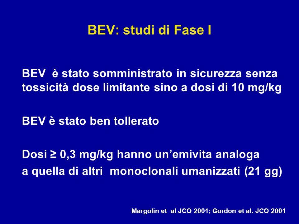 BEV: studi di Fase IBEV è stato somministrato in sicurezza senza tossicità dose limitante sino a dosi di 10 mg/kg.