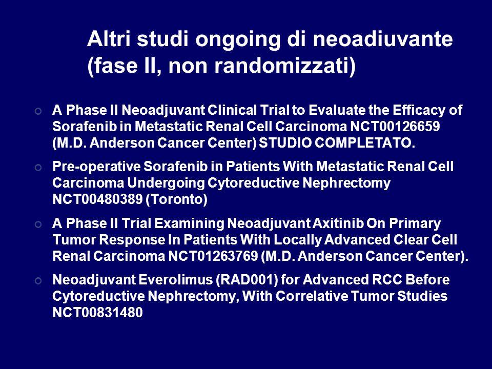 Altri studi ongoing di neoadiuvante (fase II, non randomizzati)