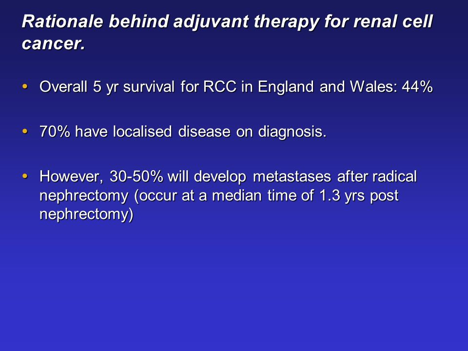 Rationale behind adjuvant therapy for renal cell cancer.