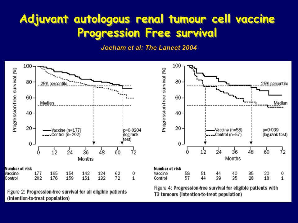 Adjuvant autologous renal tumour cell vaccine Progression Free survival