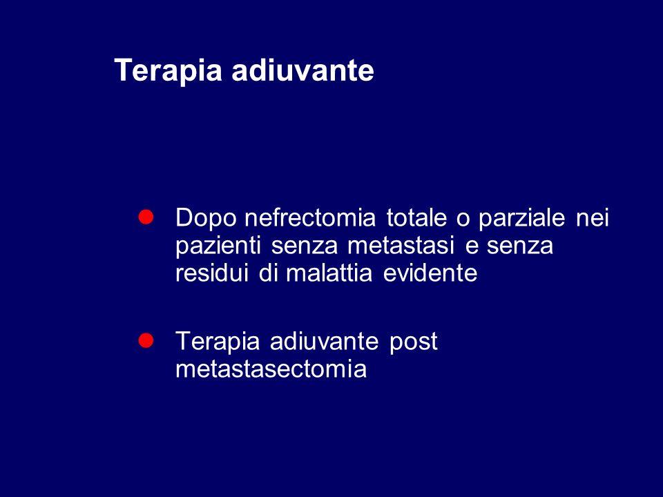 Terapia adiuvante Dopo nefrectomia totale o parziale nei pazienti senza metastasi e senza residui di malattia evidente.