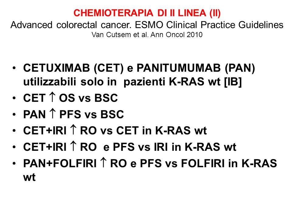 CET+IRI  RO vs CET in K-RAS wt CET+IRI  RO e PFS vs IRI in K-RAS wt