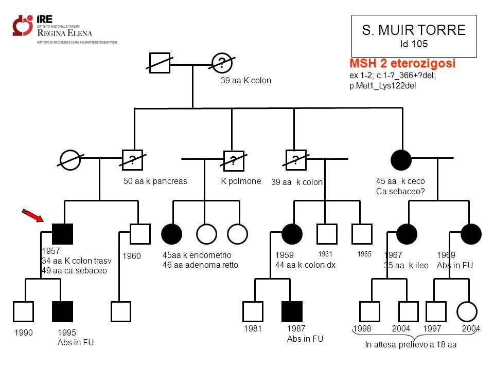S. MUIR TORRE Id 105 MSH 2 eterozigosi ex 1-2; c.1- _366+ del;