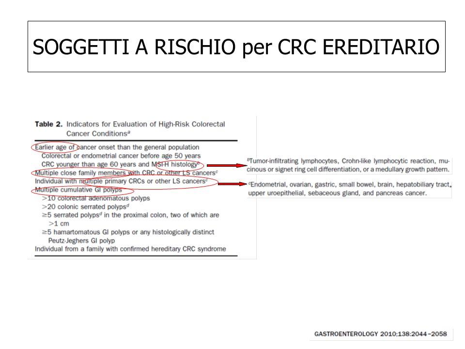 SOGGETTI A RISCHIO per CRC EREDITARIO