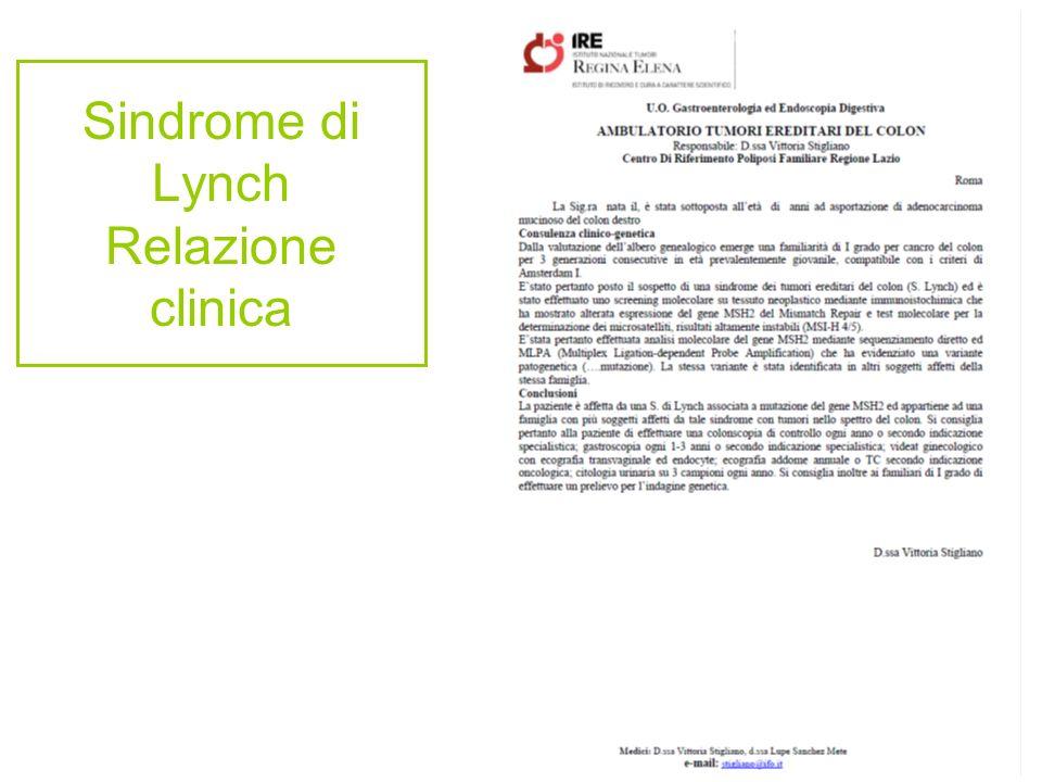 Sindrome di Lynch Relazione clinica