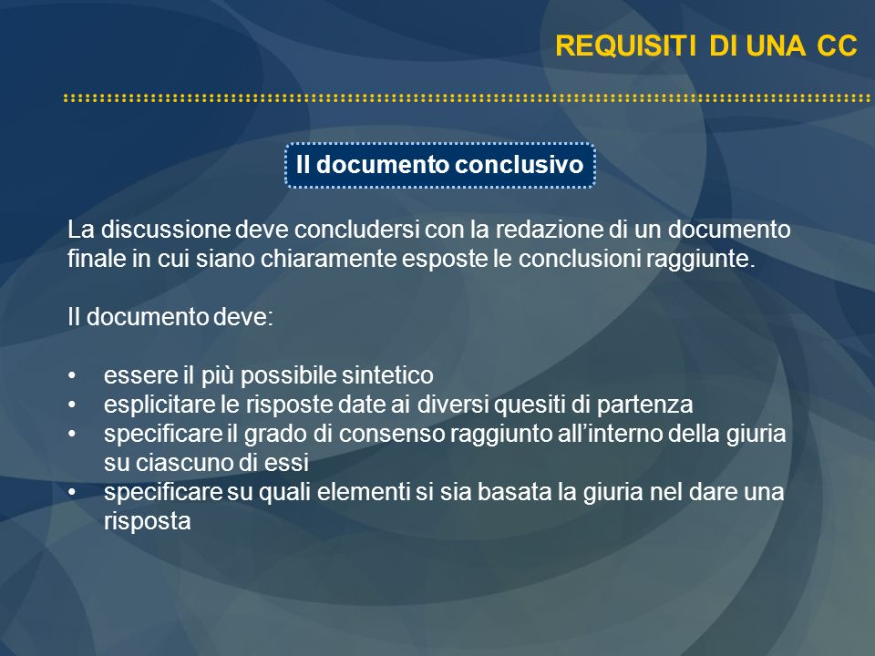 Il documento conclusivo