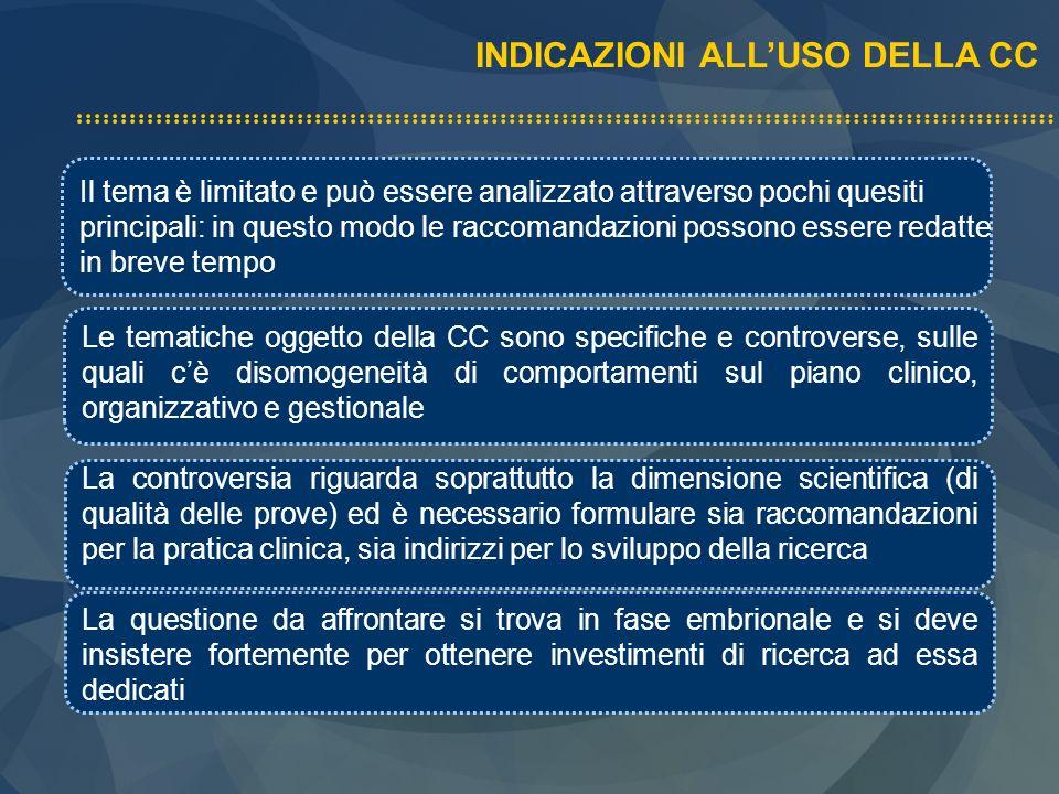 INDICAZIONI ALL'USO DELLA CC