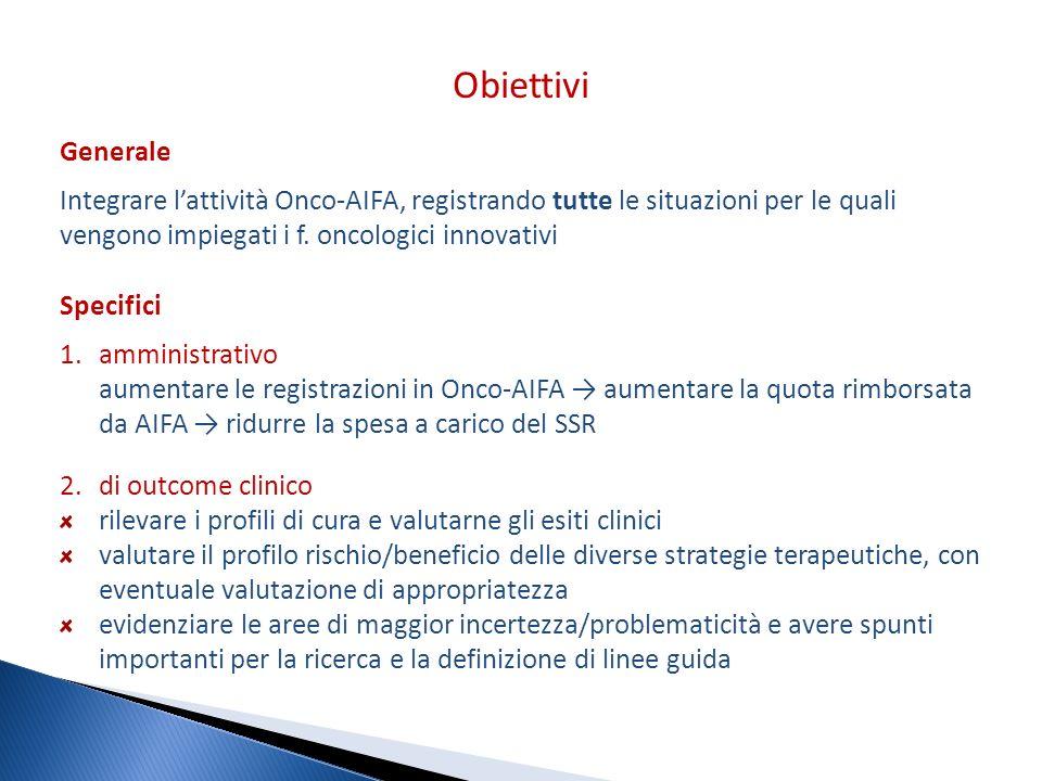 Obiettivi Generale. Integrare l'attività Onco-AIFA, registrando tutte le situazioni per le quali vengono impiegati i f. oncologici innovativi.