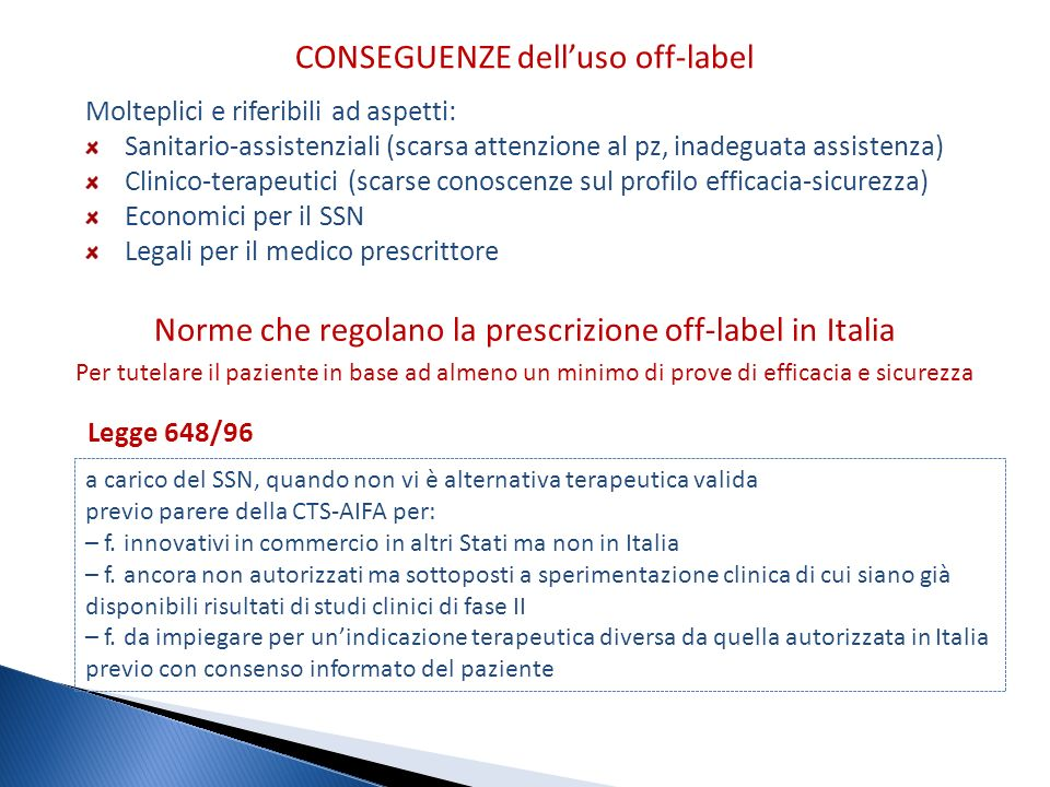 CONSEGUENZE dell'uso off-label