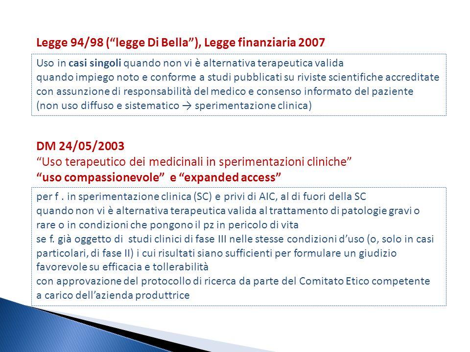 Legge 94/98 ( legge Di Bella ), Legge finanziaria 2007