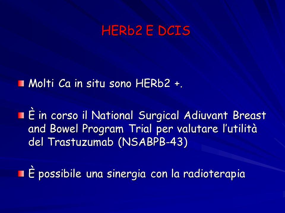 HERb2 E DCIS Molti Ca in situ sono HERb2 +.