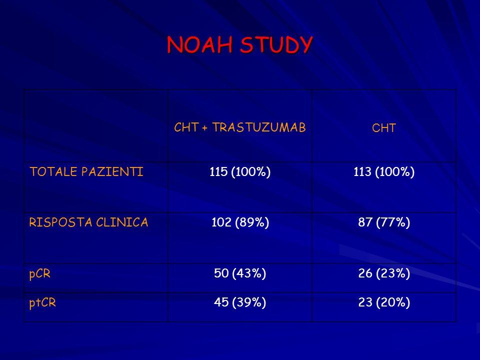 NOAH STUDY CHT + TRASTUZUMAB CHT TOTALE PAZIENTI 115 (100%) 113 (100%)