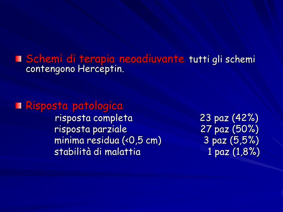Schemi di terapia neoadiuvante: tutti gli schemi contengono Herceptin.