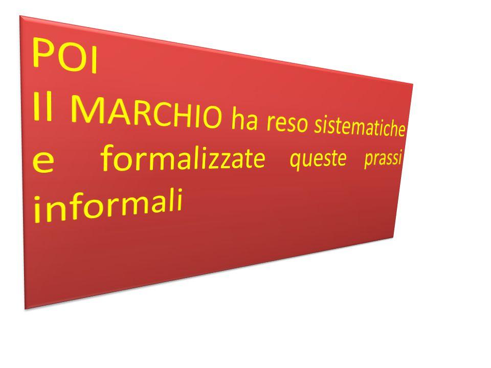 POI Il MARCHIO ha reso sistematiche e formalizzate queste prassi informali