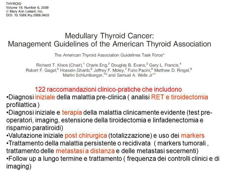 122 raccomandazioni clinico-pratiche che includono
