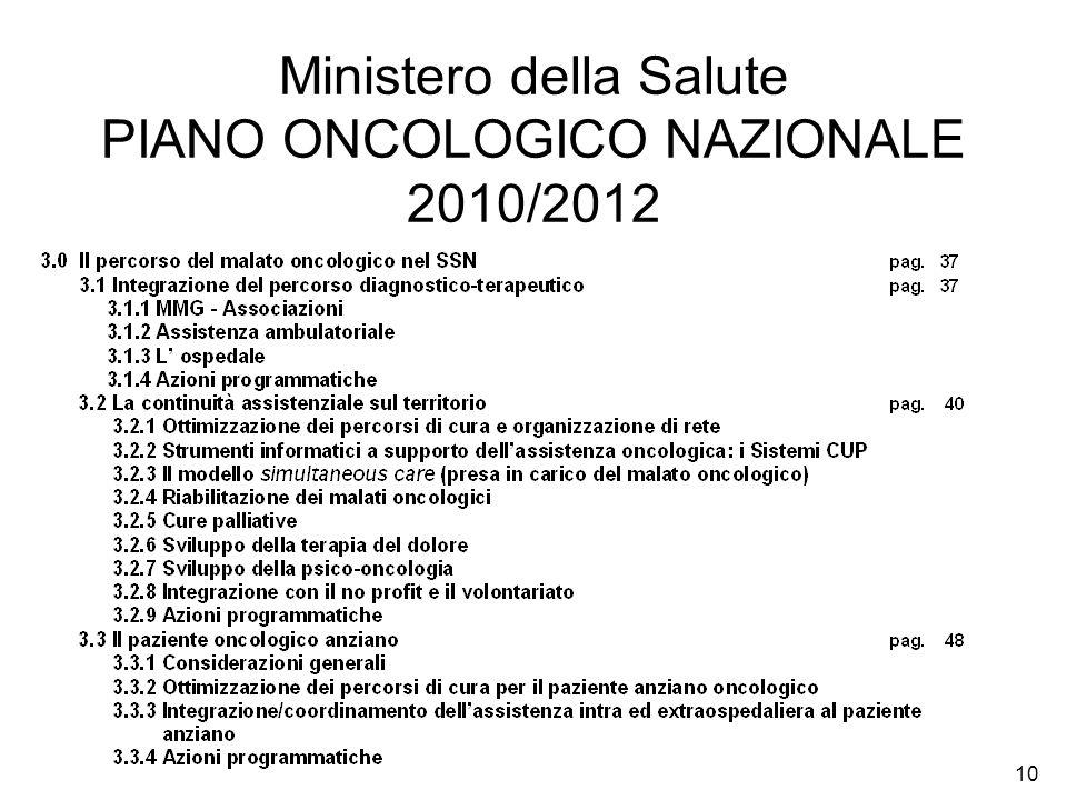 Ministero della Salute PIANO ONCOLOGICO NAZIONALE 2010/2012