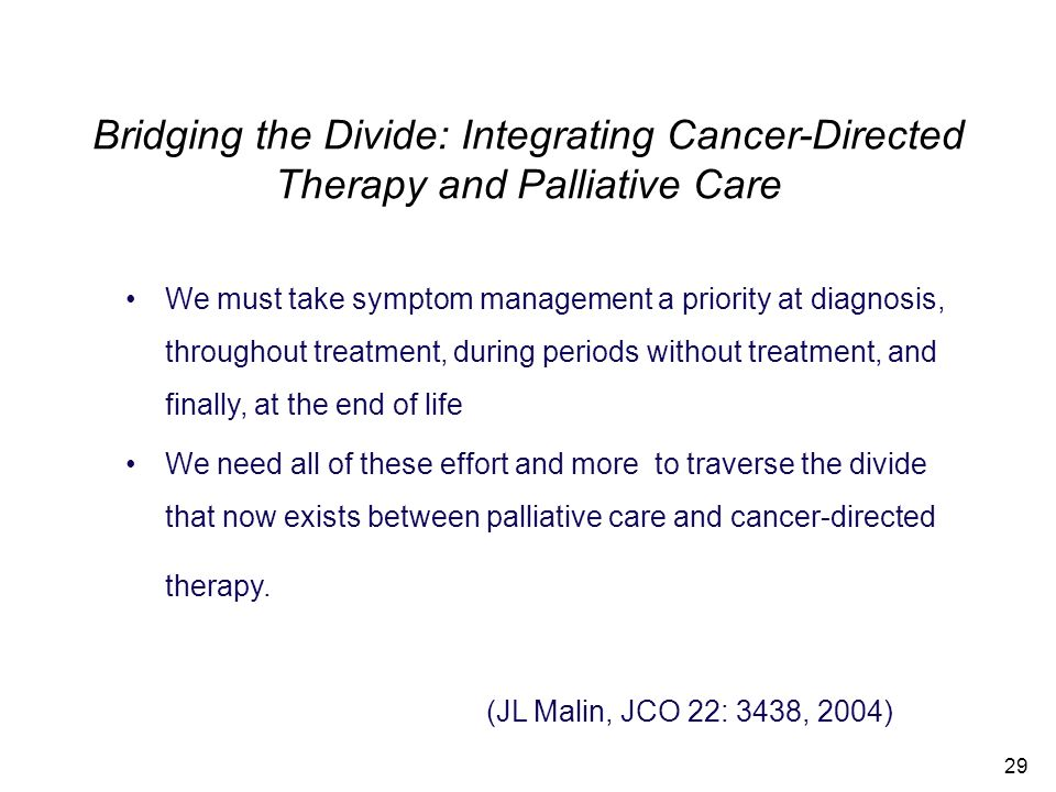 Bridging the Divide: Integrating Cancer-Directed Therapy and Palliative Care