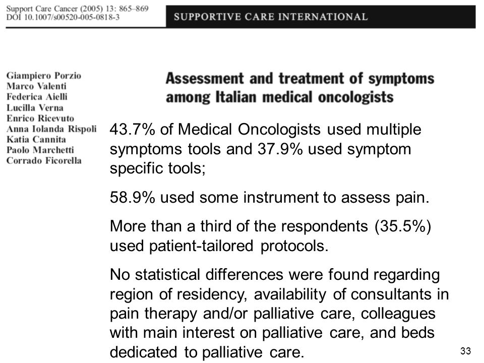 43. 7% of Medical Oncologists used multiple symptoms tools and 37