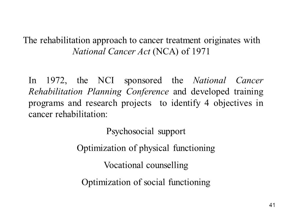 Optimization of physical functioning Vocational counselling
