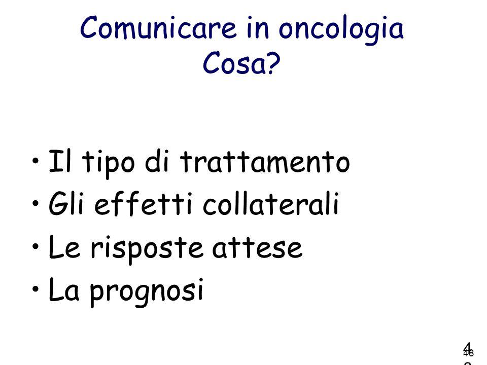 Comunicare in oncologia Cosa