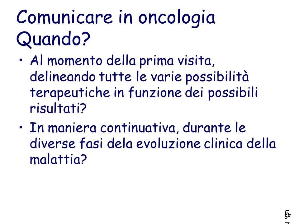 Comunicare in oncologia Quando