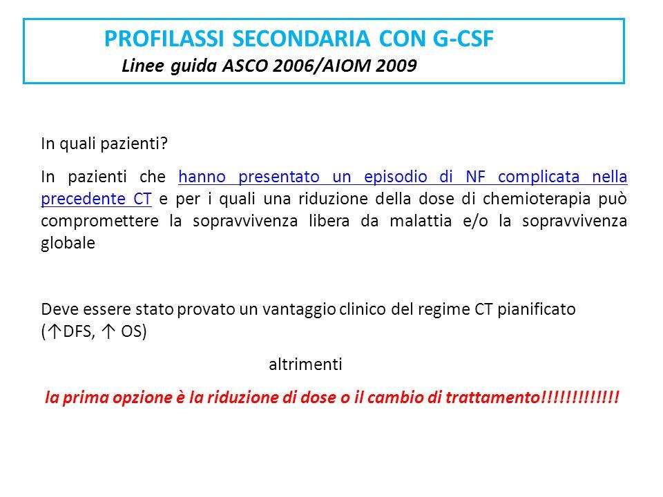 PROFILASSI SECONDARIA CON G-CSF Linee guida ASCO 2006/AIOM 2009