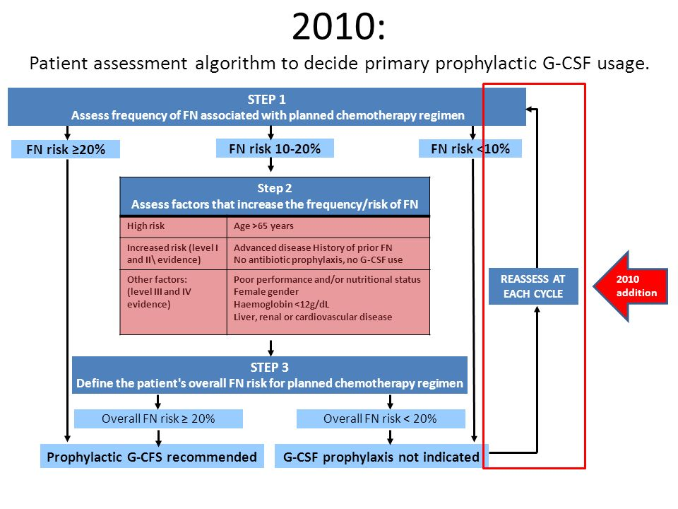 2010: Patient assessment algorithm to decide primary prophylactic G-CSF usage.
