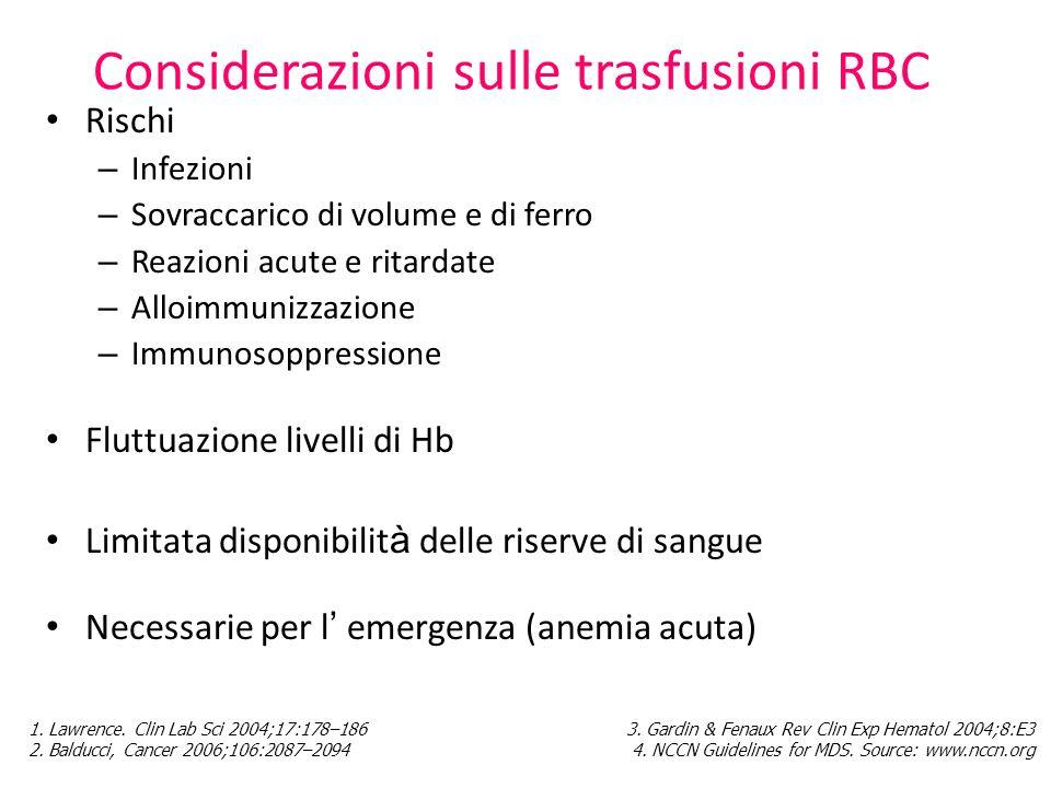 Considerazioni sulle trasfusioni RBC