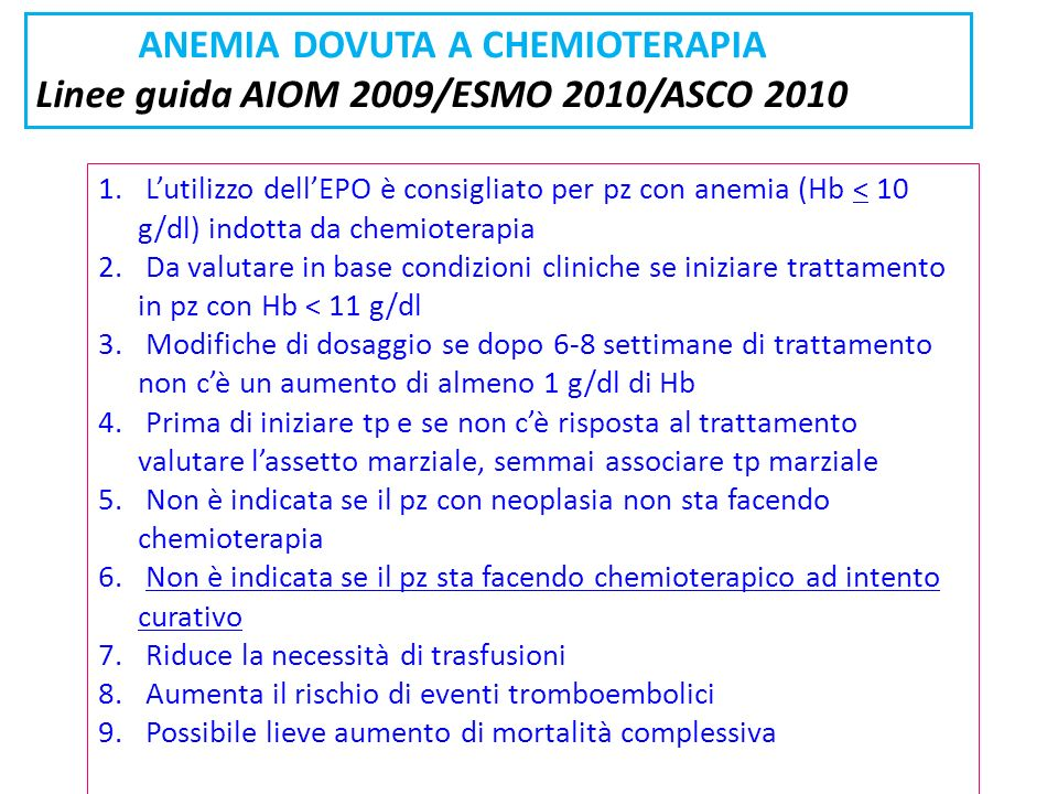 ANEMIA DOVUTA A CHEMIOTERAPIA