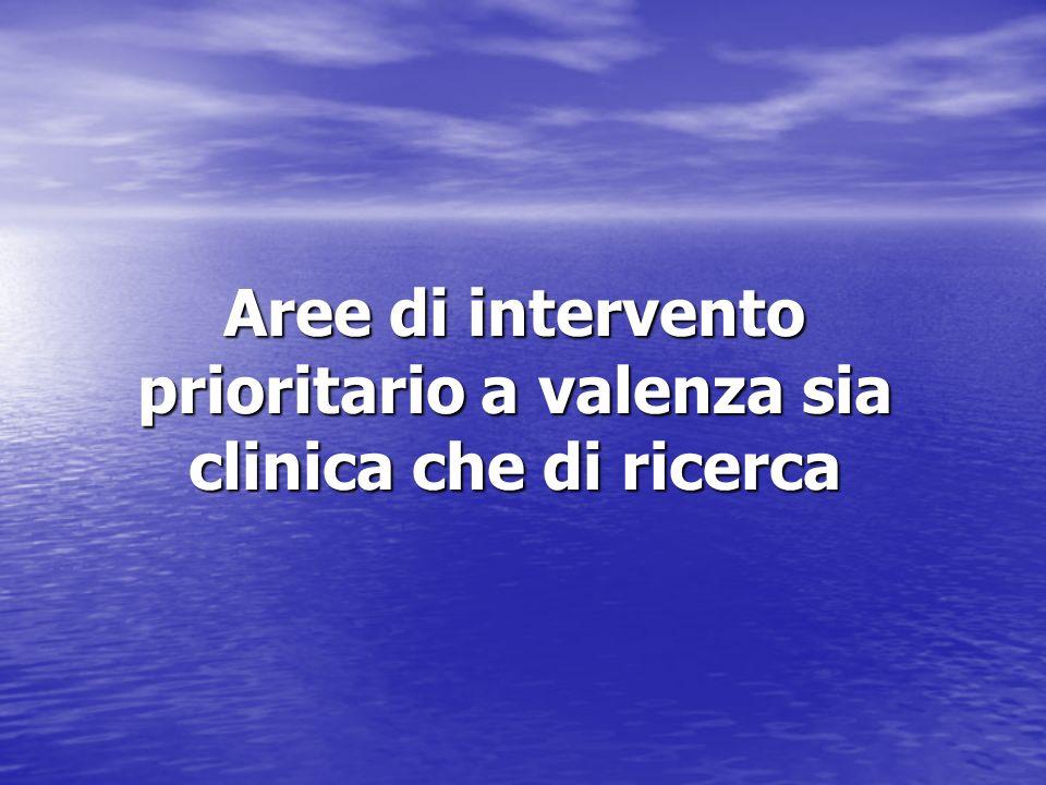Aree di intervento prioritario a valenza sia clinica che di ricerca