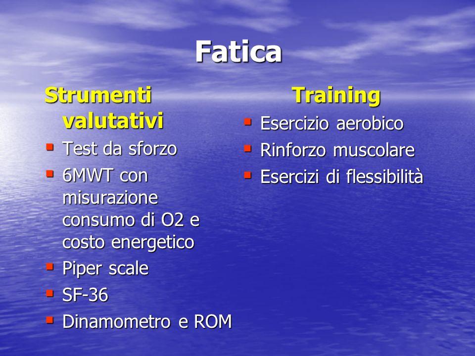 Fatica Strumenti valutativi Training Esercizio aerobico Test da sforzo